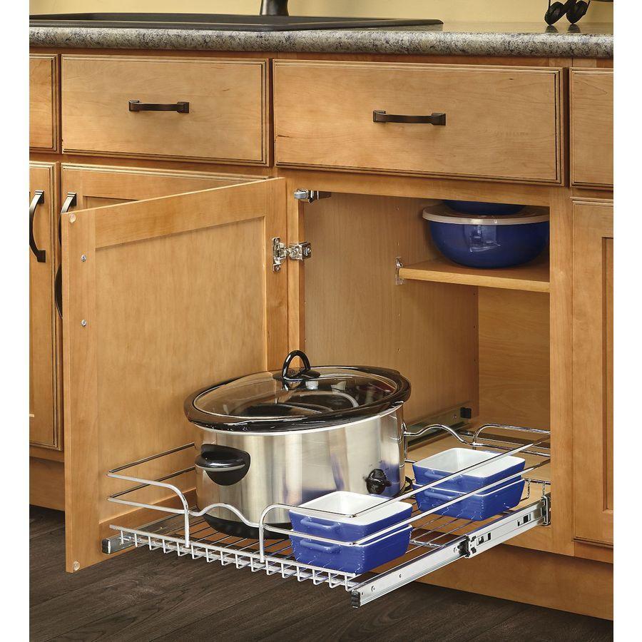 Rev A Shelf 17 5 In W X 7 In H Metal 1 Tier Pull Out Cabinet Basket Rev A Shelf Wire Baskets Kitchen Pantry Storage