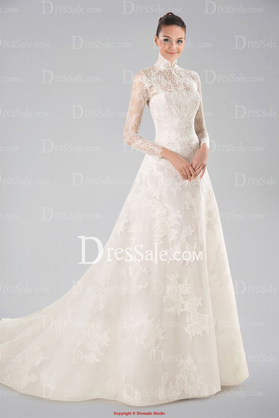 Stunning High Collar Wedding Dress With Lace Overlay And Long Sleeves