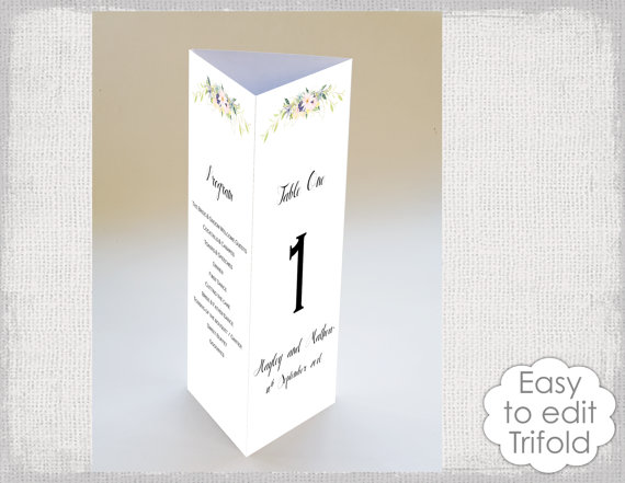 trifold wedding table card template eden flower menu templates