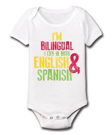 47af2c46fc6 White  Bilingual  Bodysuit - Infant by Ay Caramba  zulily  zulilyfinds