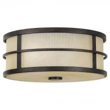 Feiss FM256GBZ - Two Light Grecian Bronze Amber Ribbed Glass Drum Shade Flush Mount