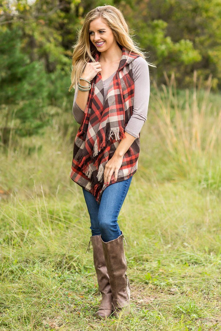 d8452efd6203be Feeling Fall Plaid Hooded Vest in Brown and Rust – Filly Flair ...