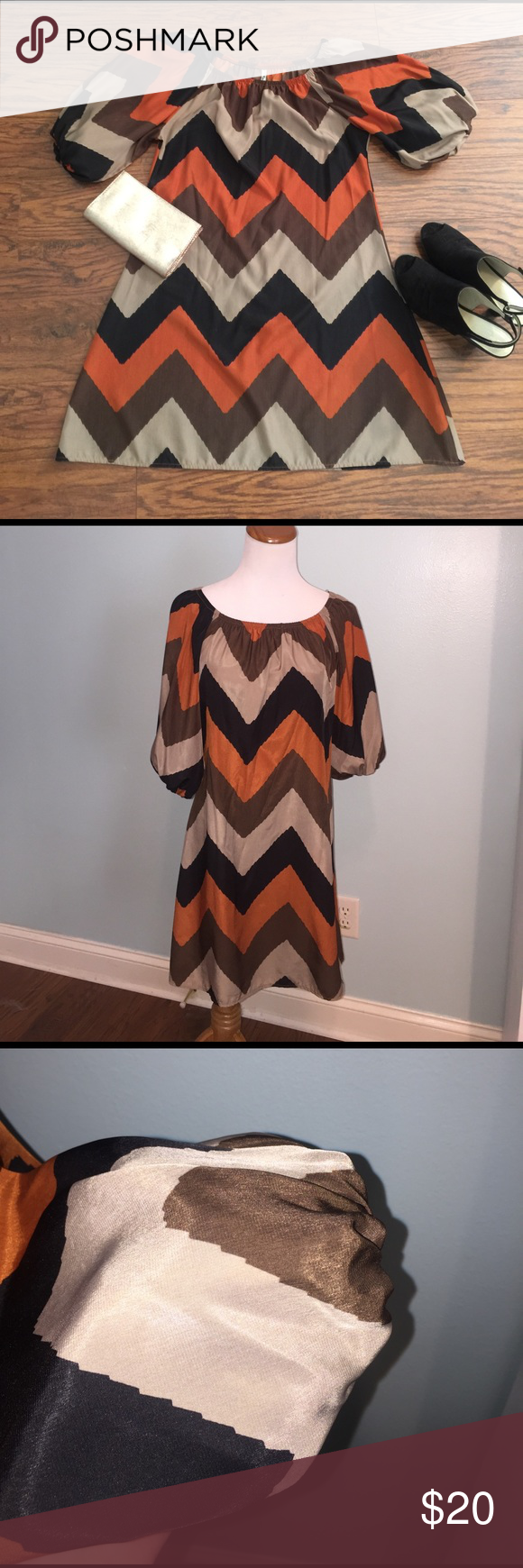 "Bubble sleeve chevron mini dress Size medium. Bust is 18.5"" and total length is 33"". Cute and fun dress with bubble sleeves! Elastic at neckline and sleeves. 100% polyester. Rachal Kate Dresses Mini"