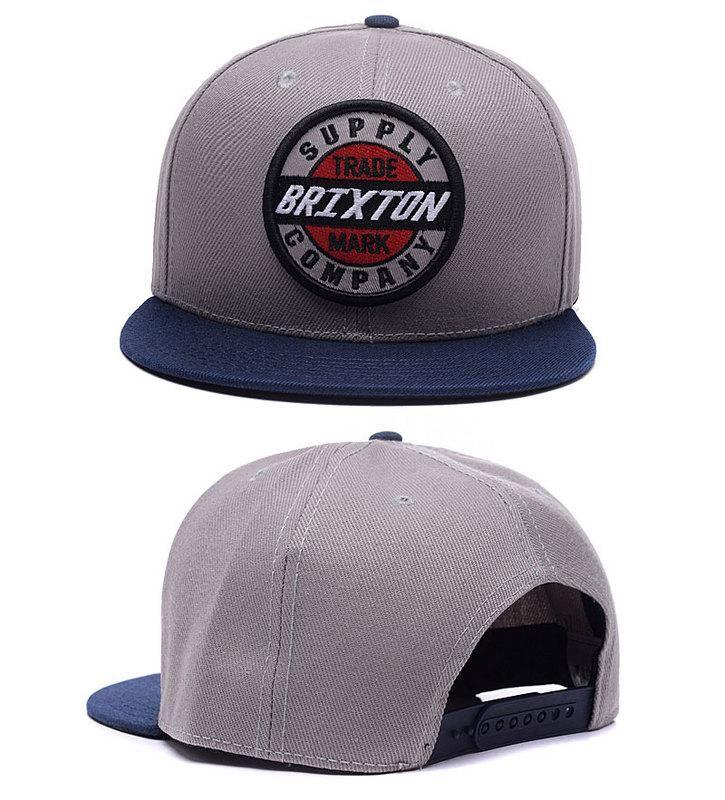 Men's Brixton Council Logo Patch Snapback Hat - Grey / Navy