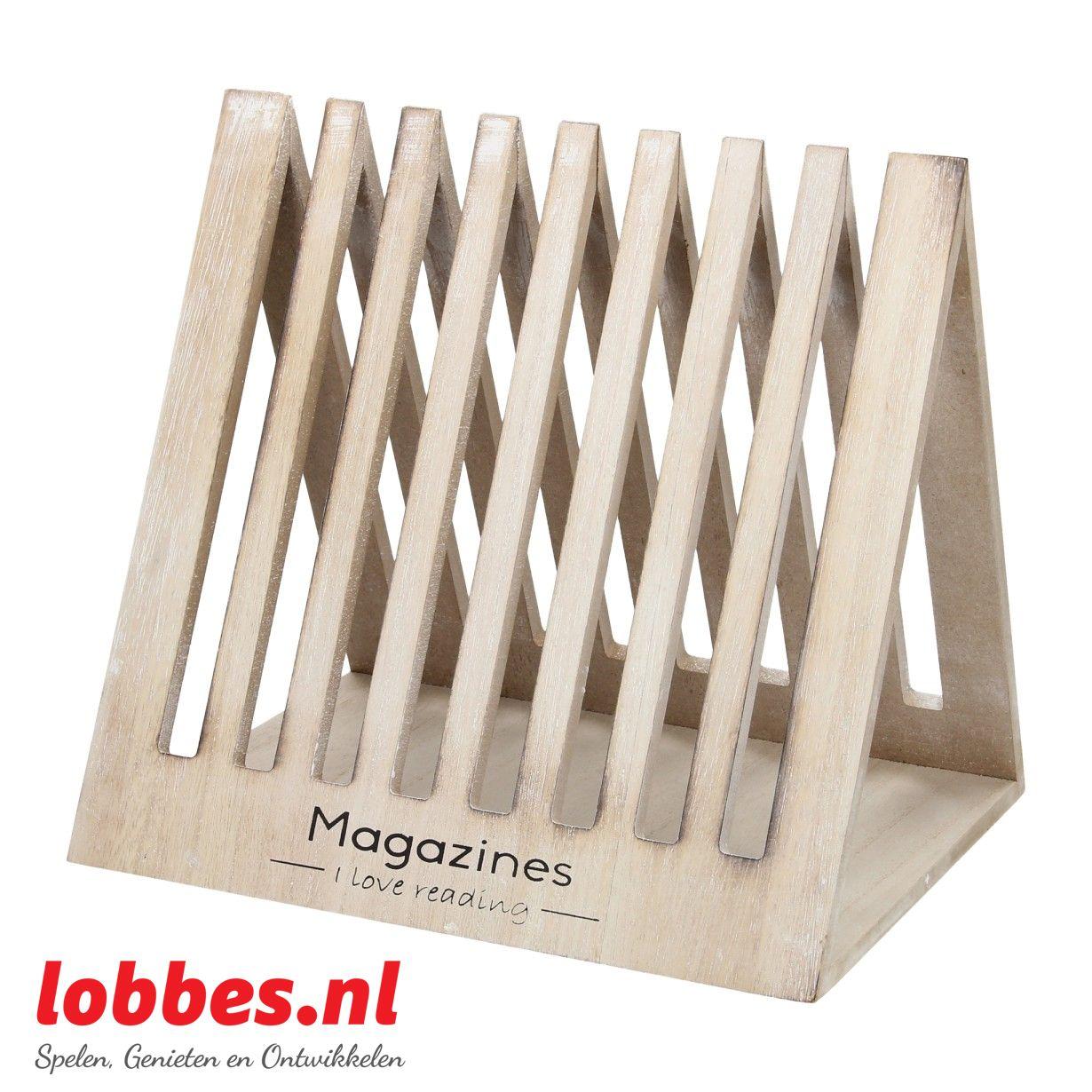 Houten tijdschriftenhouder met 8 brede gleuven om je tijdschriften in te steken.