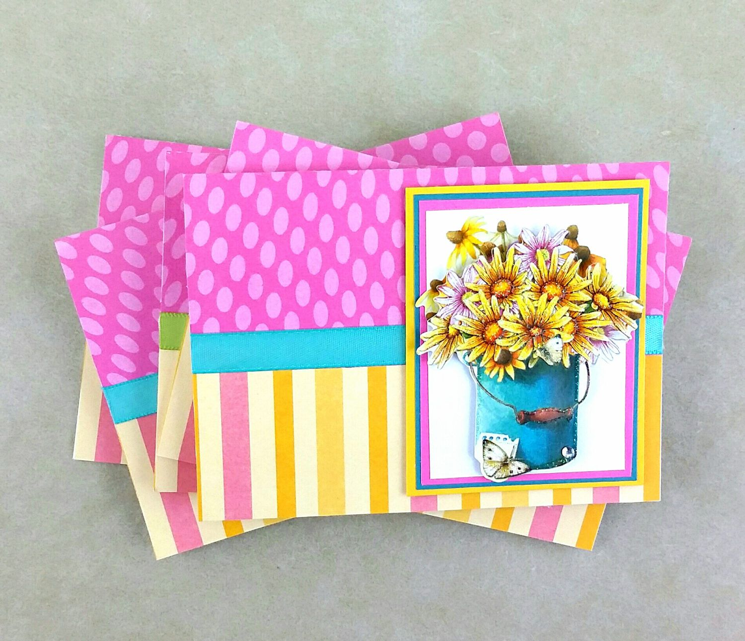 Flower note cards set of daisy cards gift for her handmade