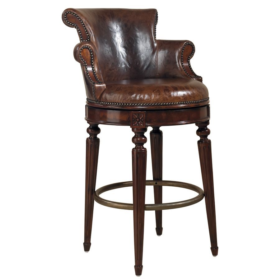 FurnitureThe Best Beautiful Leather Swivel Bar Stool With Back Design And Cool Arm Also