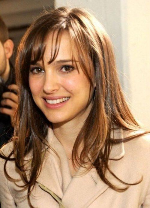 natalie portman casual layered long hairstyles with side