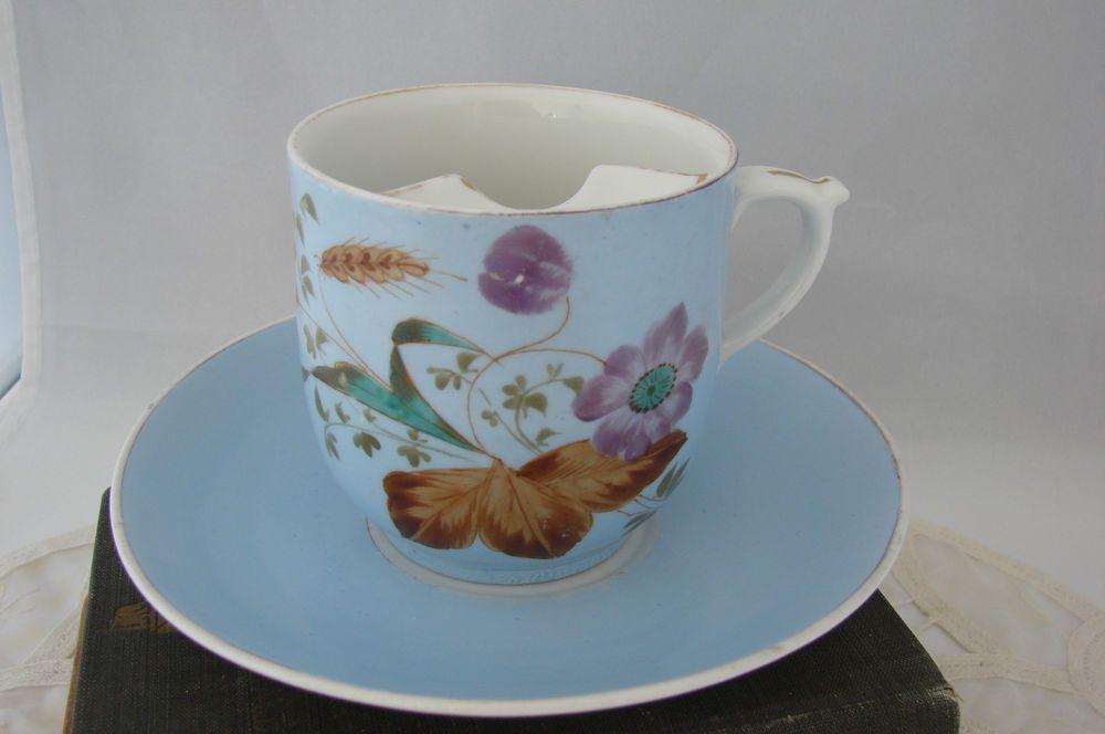 Vintage Porcelain Blue Floral Transfer Moustache Tea Cup