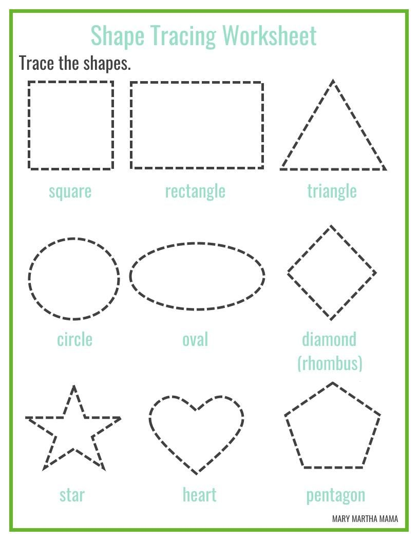 Free printable shape tracing worksheets | KBN Learning Activities ...