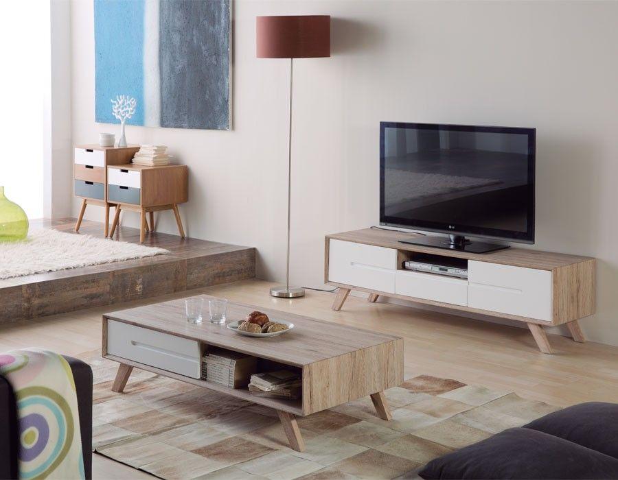 Meuble TV Scandinave Laqué Blanc Et Couleur Bois LARS Meuble Tv Et Table  Basse, Table