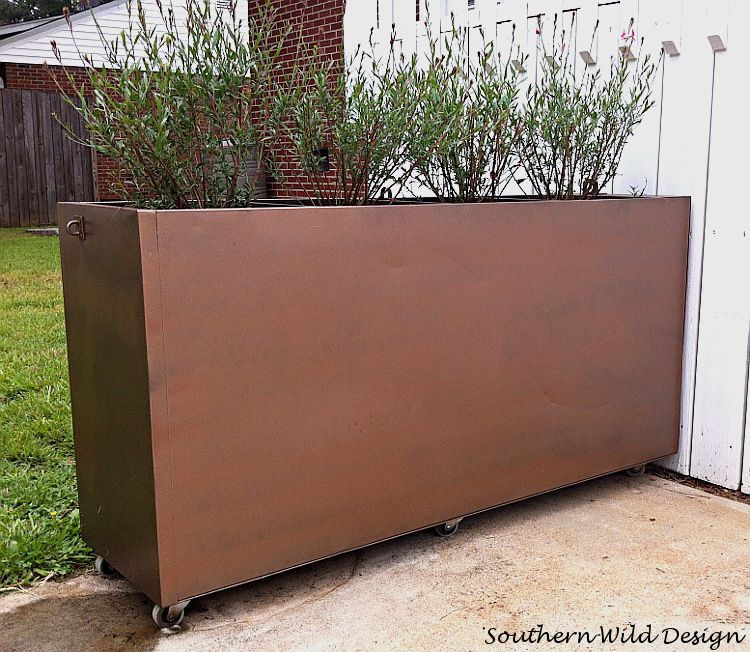 Turn an old metal filing into a garden planter