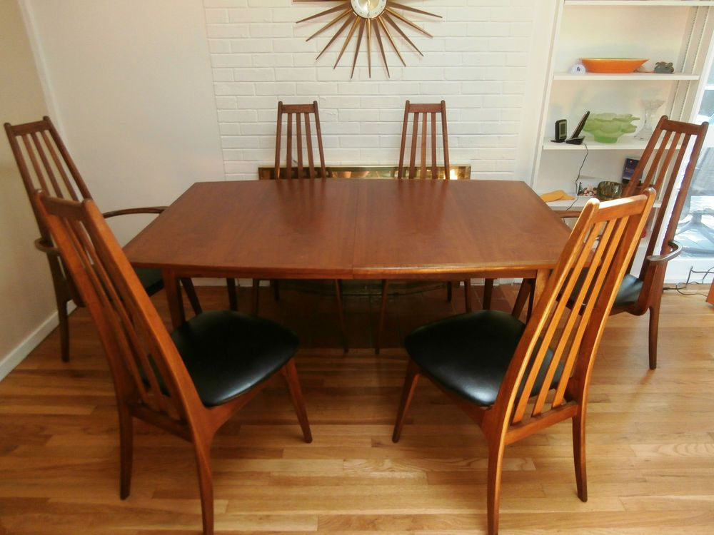Rare Henry P Glass Style Walnut Dining Table 6 Chairs Richbilt