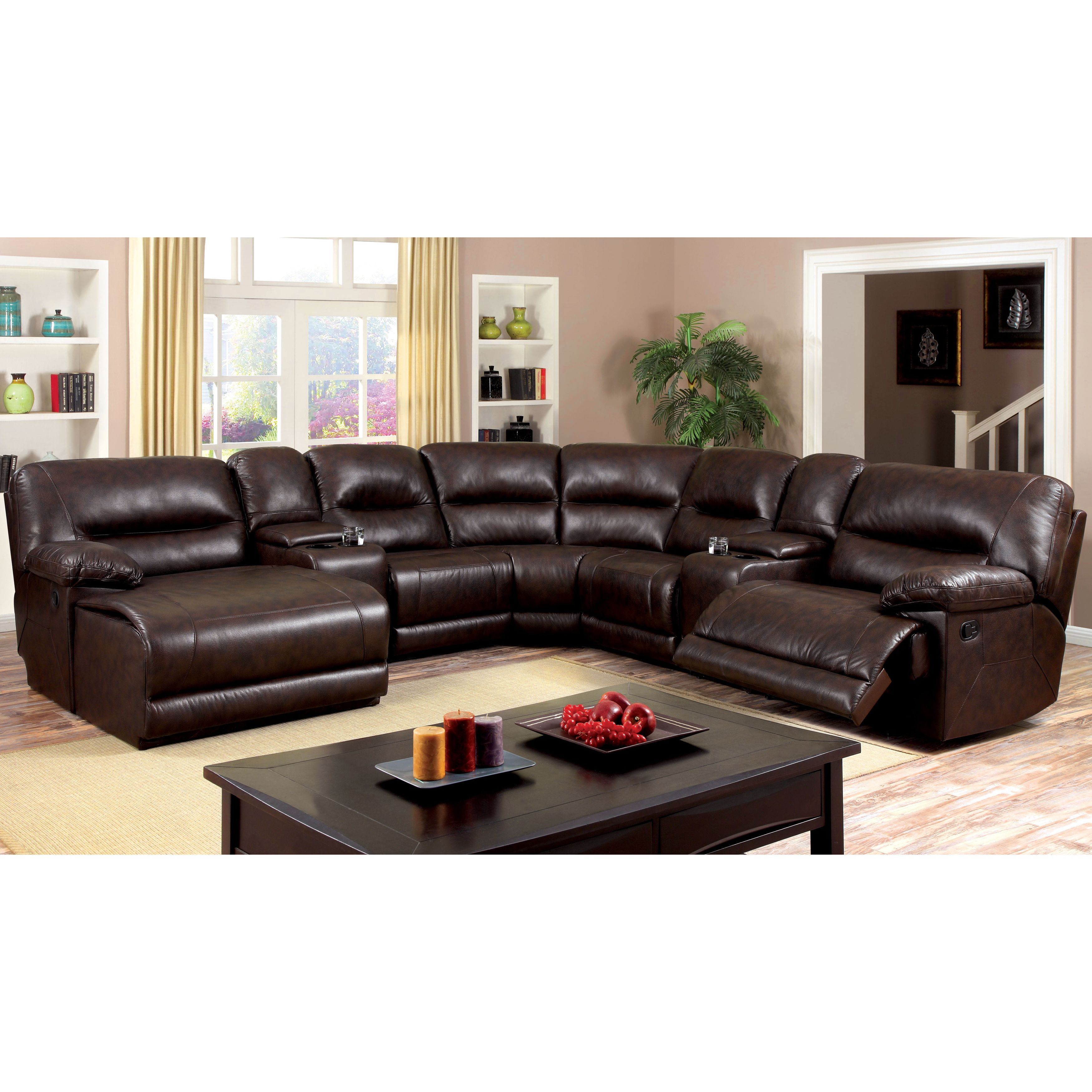 Furniture of America Tennor Bonded Leather Theatre Sectional