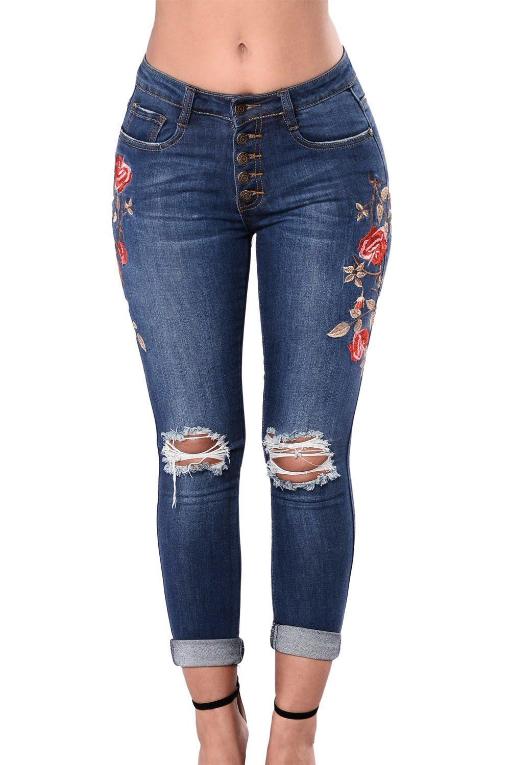 Chicloth floral embroidered knee distress skinny jeans