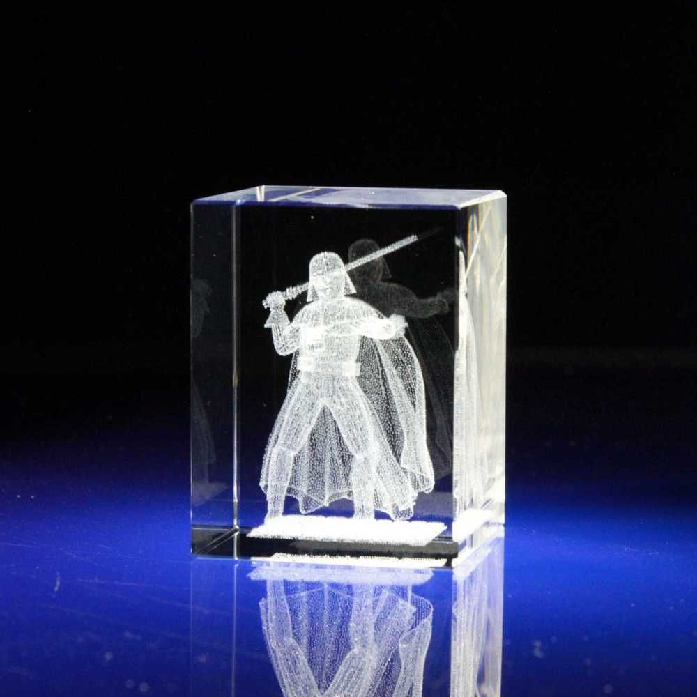 From 9 99 Darth Vader Starwars 3d Figurine Laser Etched Crystal Glass Statue 30x30x40 мм Star Wars Collection Figurines Glass