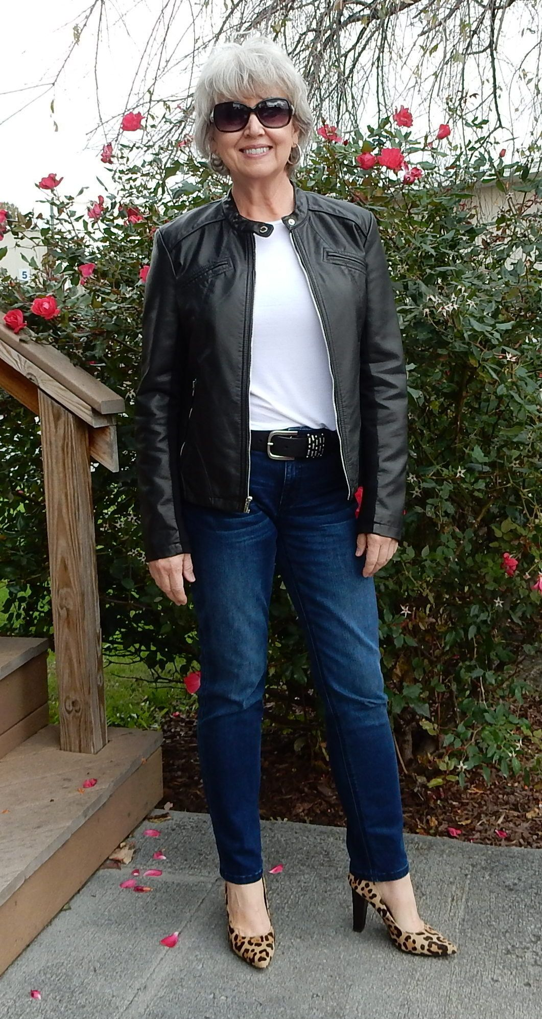 Wearing my Express faux leather jacket today. Womens