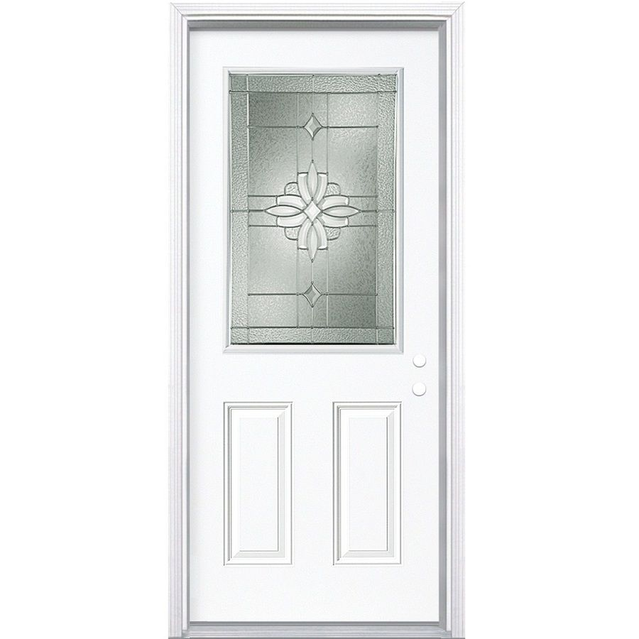 Masonite Laurel Decorative Glass Left Hand Inswing Steel Primed Entry Door  (Common: 32