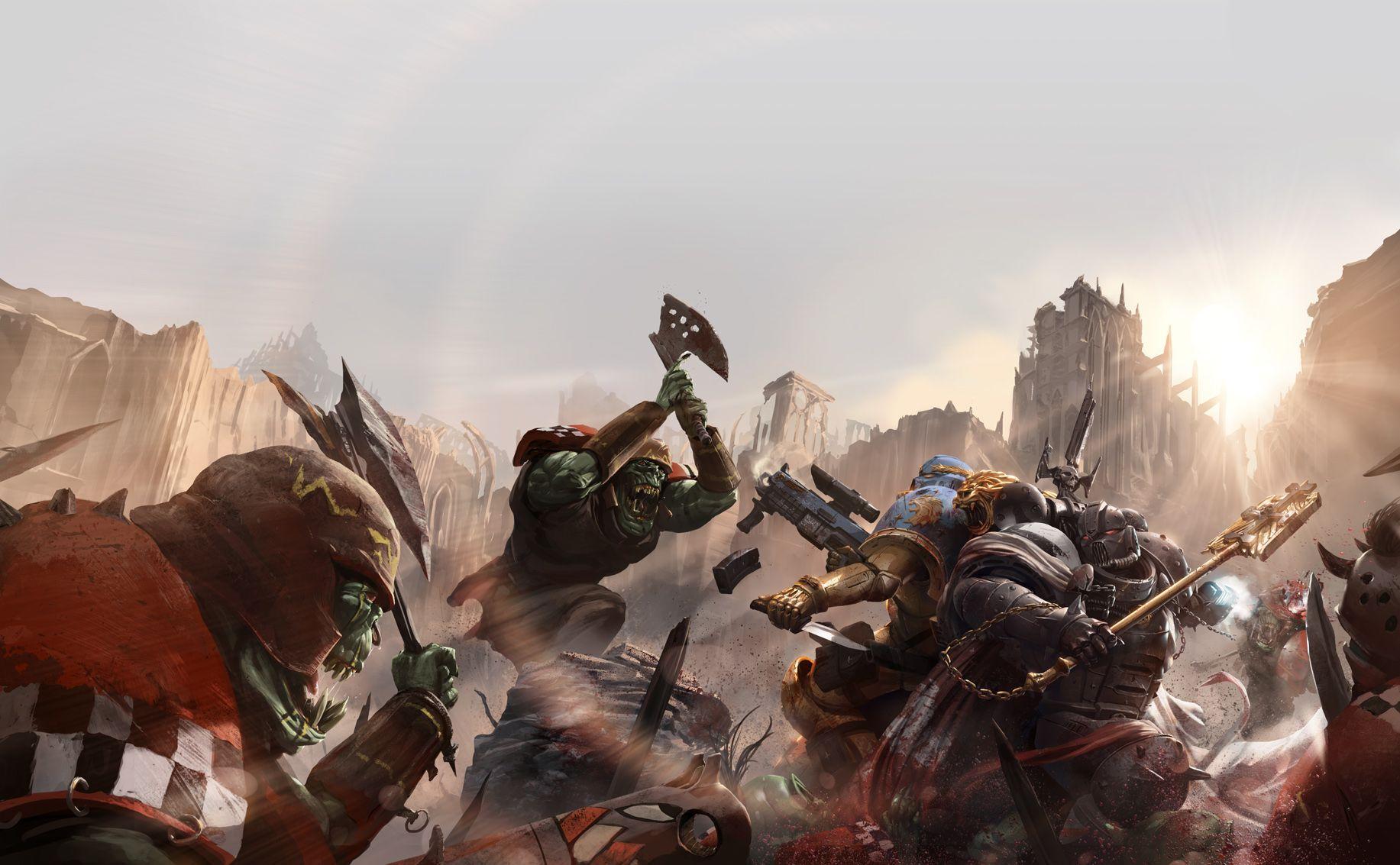 Warhammer 40k death company wallpaper - Space Marines Vs Orks Wallpaper Warhammer Fantasywarhammer 40kwarhammer