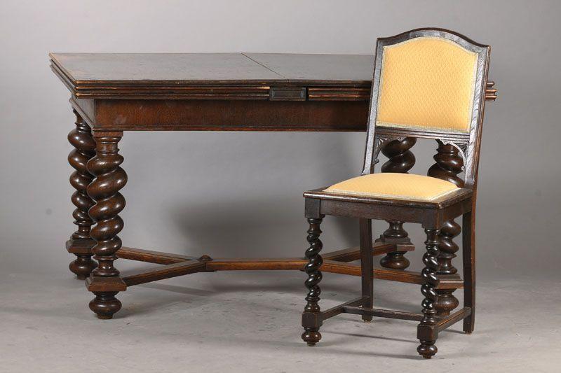 ausziehtisch mit 6 st hlen im danziger barock stil 1880 90 eiche massiv tisch mit 4. Black Bedroom Furniture Sets. Home Design Ideas