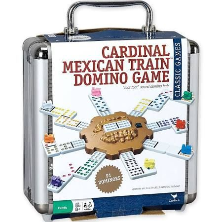 Cardinal Industries Mexican Train Domino Set: Double 12 Color Dot Dominoes