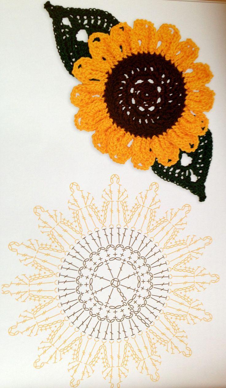 Sonnenblume - Häkelschrift - - -- - - - - - - Zonnebloem Diagram ...