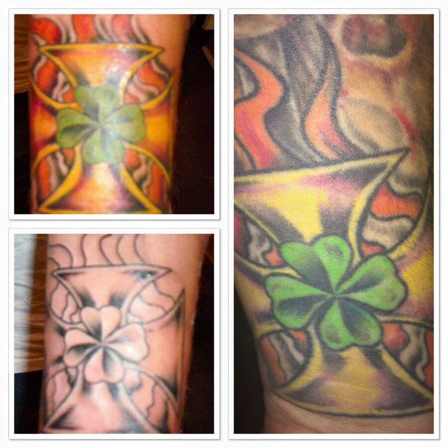 Heritage Tattoo, German Irish Iron Cross with a Clover.