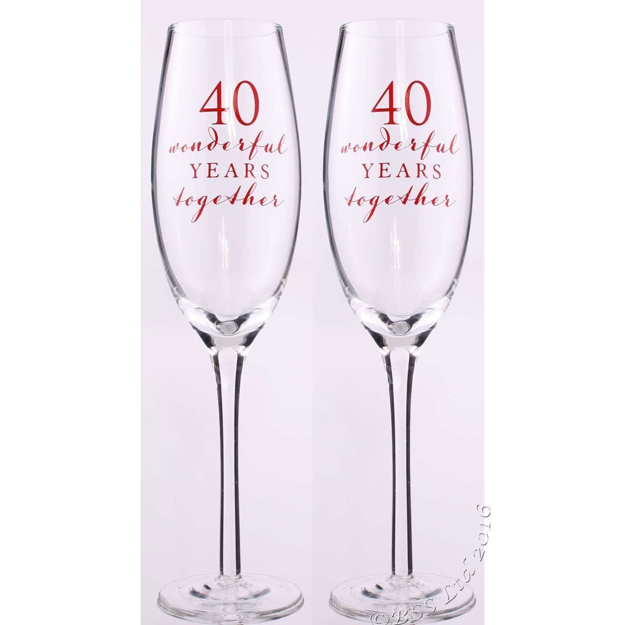 Show Details For 40th Anniversary Champagne Flutes