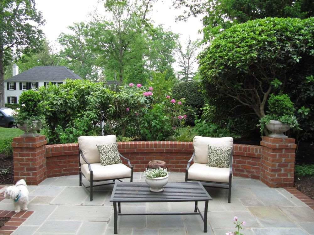 brick wall with bluestone   Bluestone patio, Patio design ... on Backyard Brick Wall Ideas id=65470