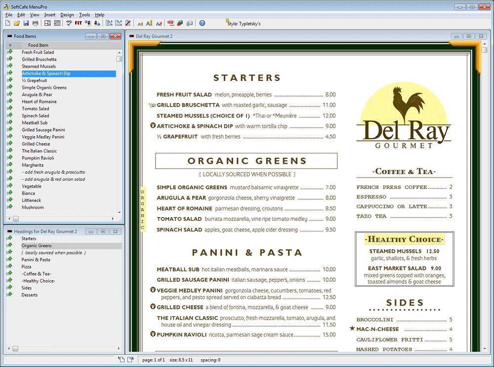 MenuPro 10 Menu Software Menu maker, Restaurant menu