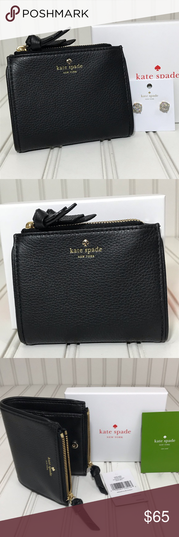 7f0160222e926 NWT Kate Spade Small Malea Larchmont Ave Wallet This small Malea Larchmont  Avenue wallet in black