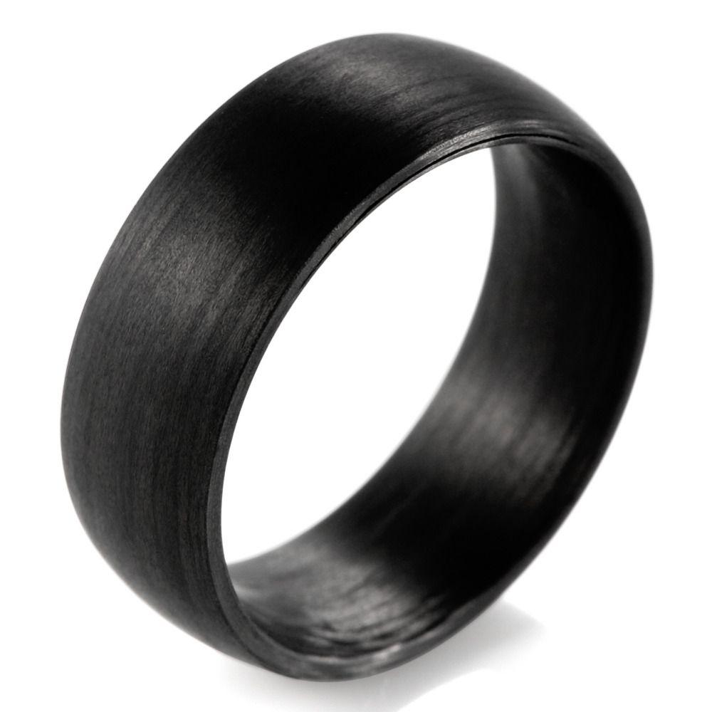 SHARDON Domed 8mm Solid Black Carbon Fiber Ring With Matte Finishing