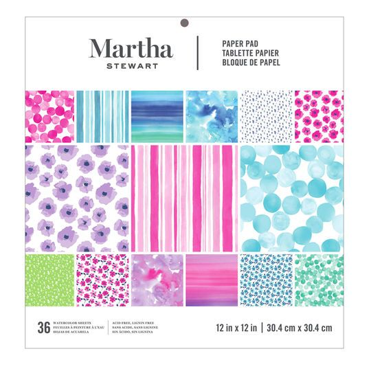 Martha Stewart Watercolor Paper Pad 12 X 12 Paper Watercolor