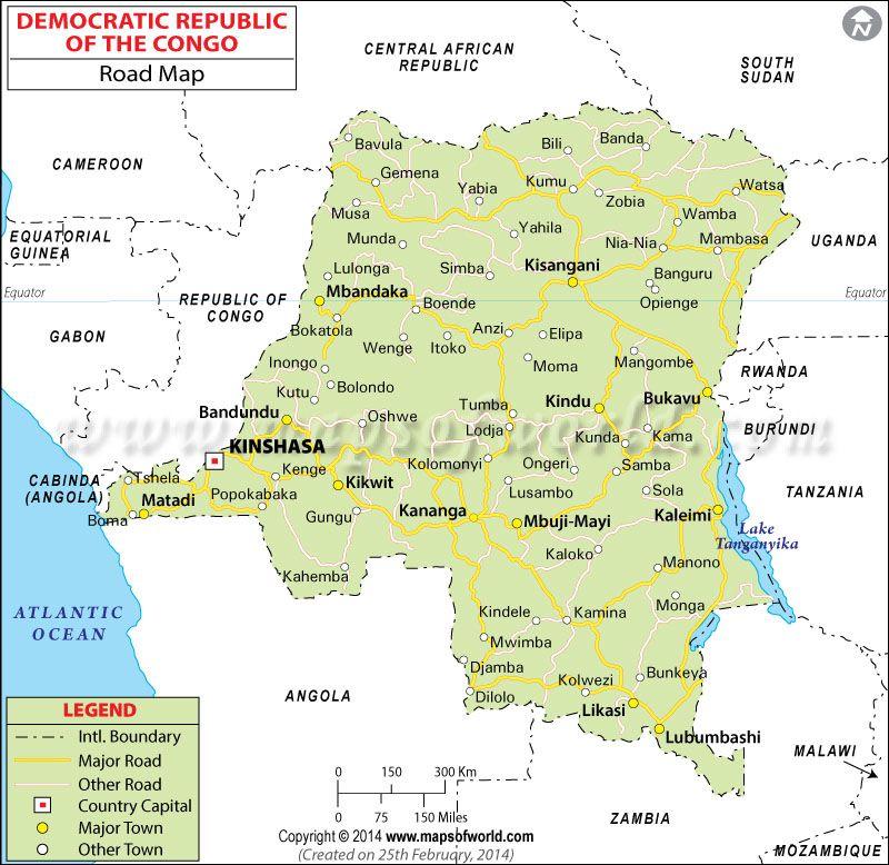 Democratic Republic of the Congo Road Map Congo Democratic
