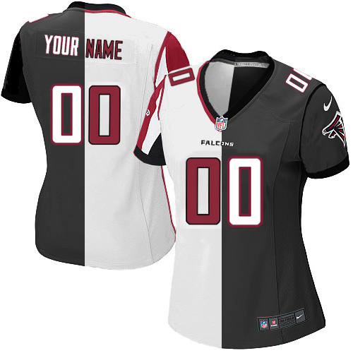 Custom Nike Atlanta Falcons Jersey Customized Elite White Black Two Tone Women  NFL Jerseys 2ee0ed262