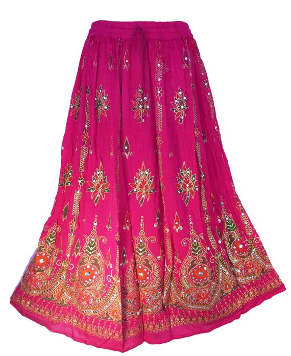 9c8b8f3f7560a4 Indian boho gypsy belly dance hand embroidered sequin rayon skirts falda  jupe - Choose Colors- Pink