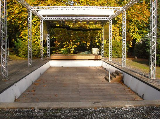 Converted old pools outdoor performance space converted for Swimming pool converted to greenhouse