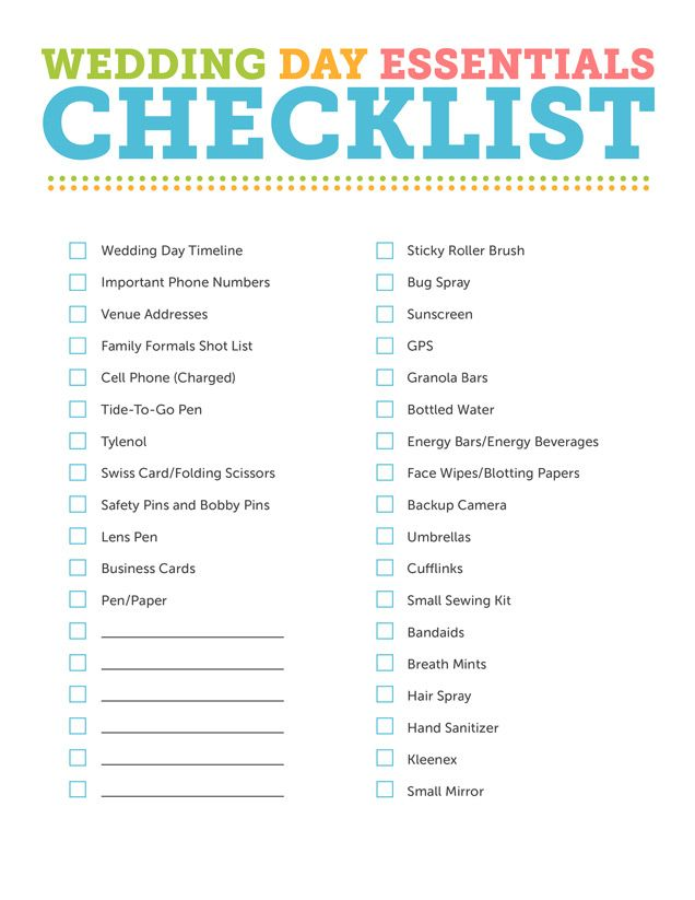 Wedding Day Checklist  Going Pro    Wedding