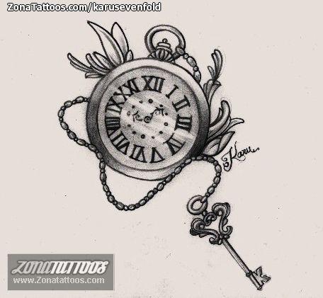 Diseño de Relojes, Llaves   Tatuaje reloj de bolsillo