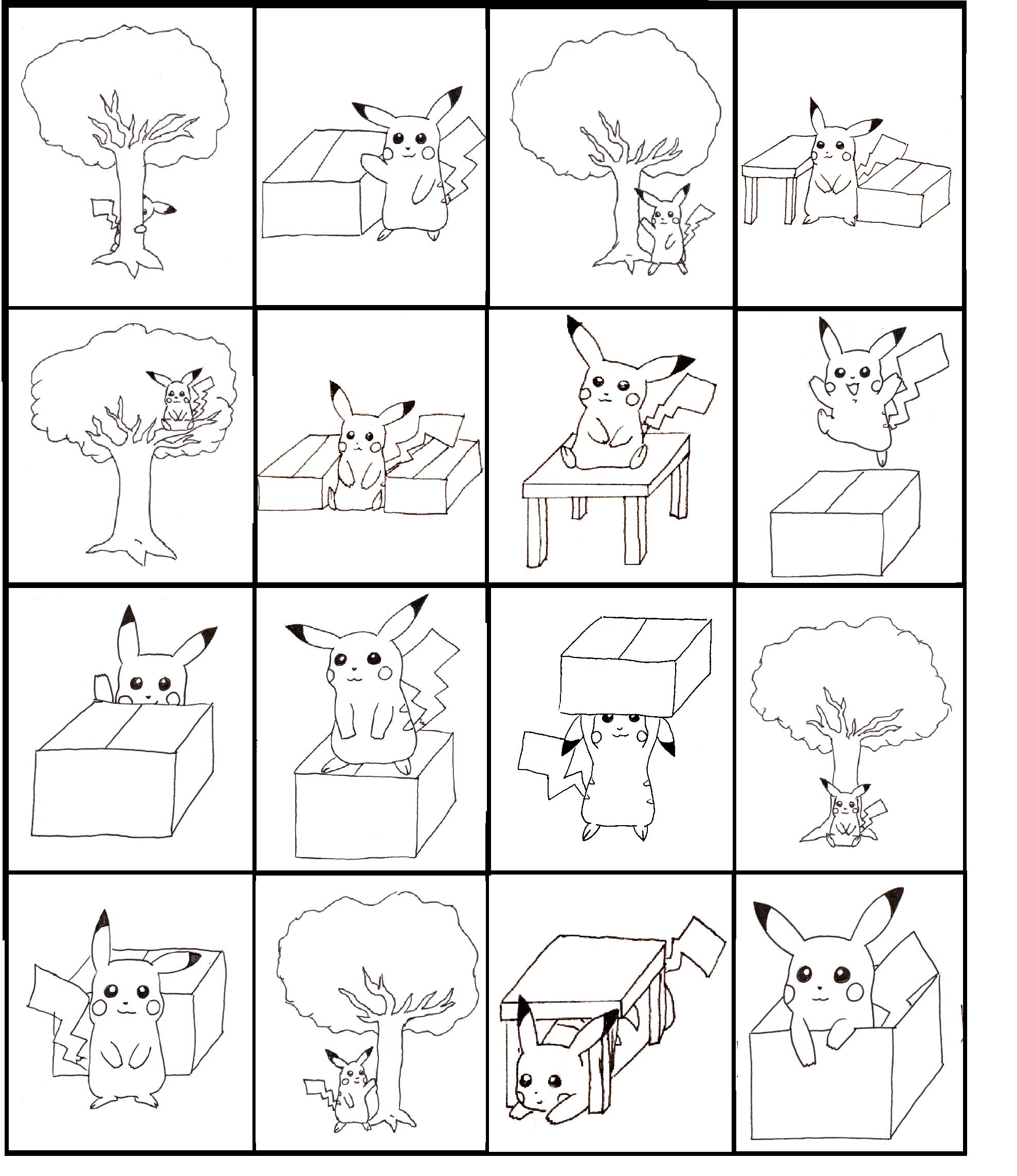 Pikachu Bingo Practicing Prepositions Board 2 Of 4 Made
