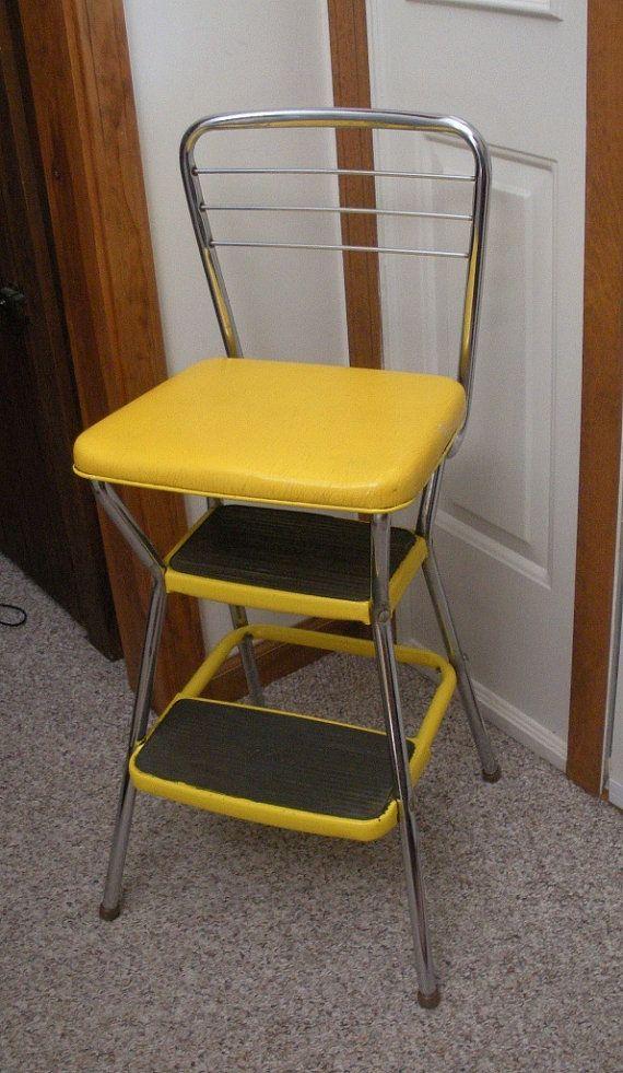 Vintage Cosco Yellow Kitchen Step Stool Chair  Kitchen