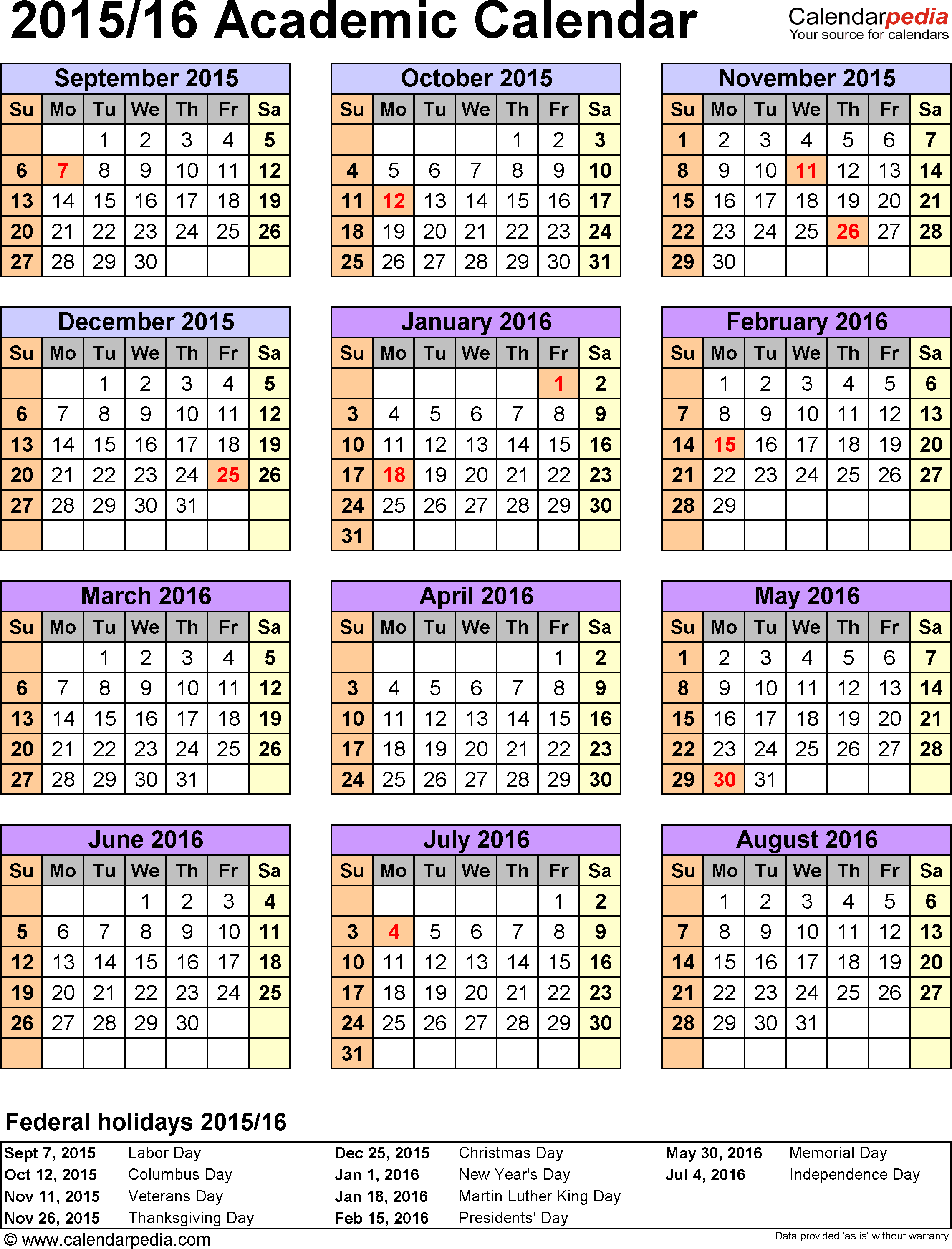 Template 5 Academic Calendar 201516 For Excel Portrait 1 Page