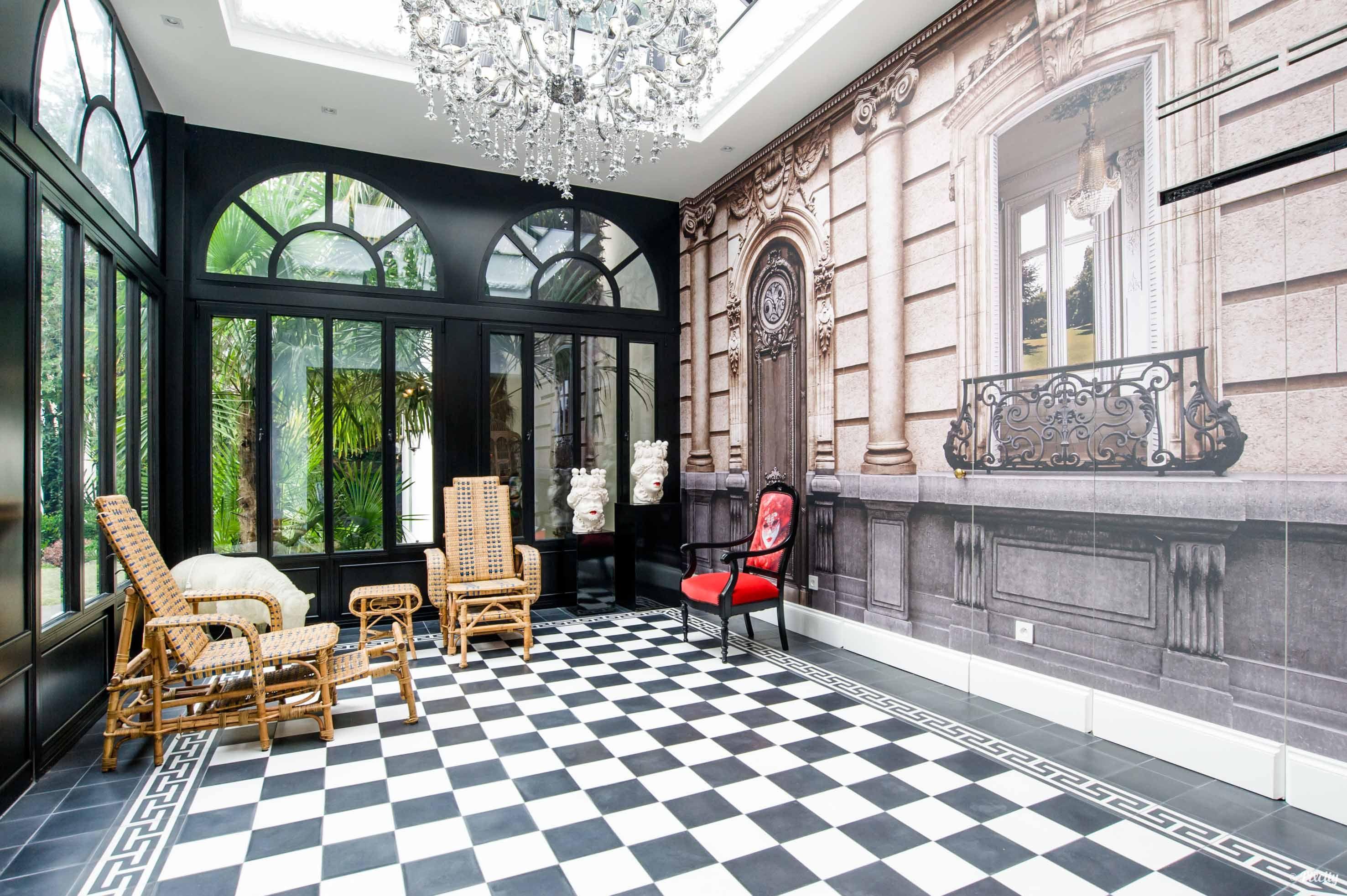 Veranda Noire Carrelage En Damier Noir Outdoor Decor Home Architecture