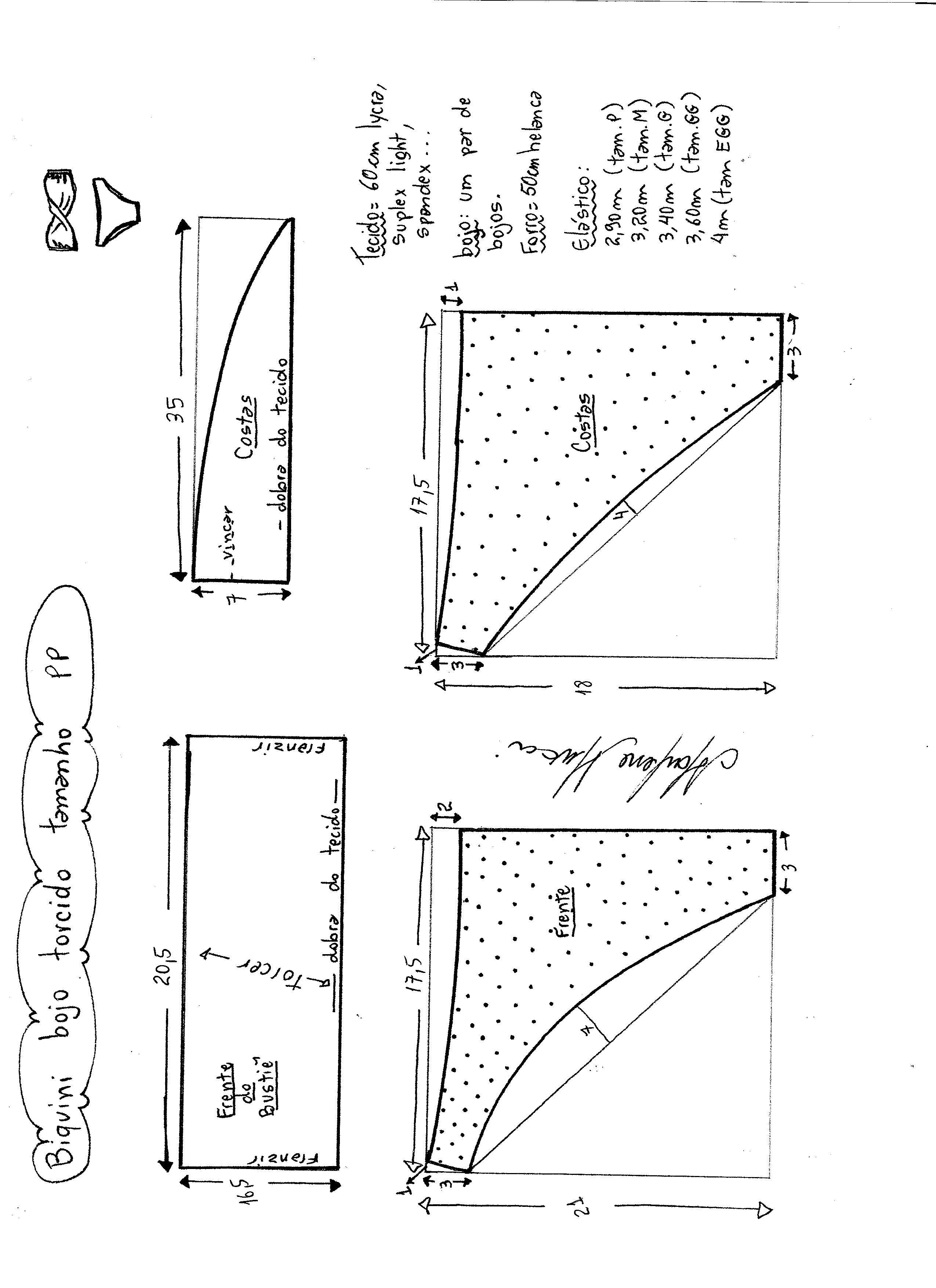 Esquema de modelagem de biquíni com bojo torcido tamanho PP. b478d572024