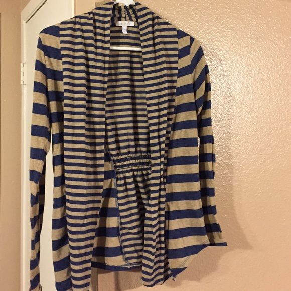 Blue & Tan Striped Delia's Sweater Blue & Tan Striped Delia's Sweater w/ cute and flattering cinched back detail dELiA's Sweaters Cardigans