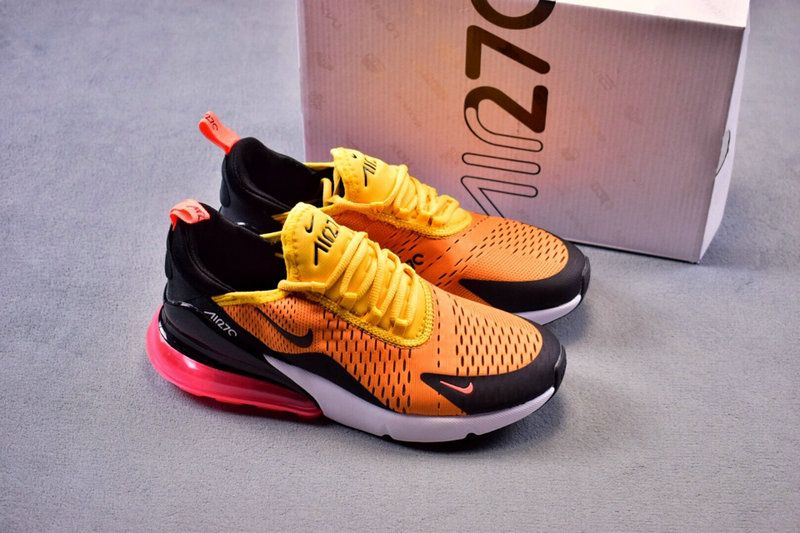 c47761b022 Cheap Nike Air Max 270 Sneakers For Mens Womens Yellow Hyper Orange Pink  Black