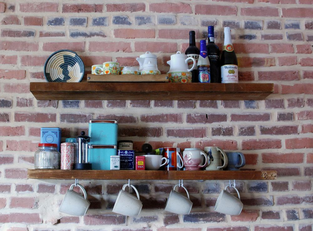 Reclaimed Wood Floating Shelf Mug Hooks Google Search Rustic Tea Sets Wood Floating Shelves Tea Bar