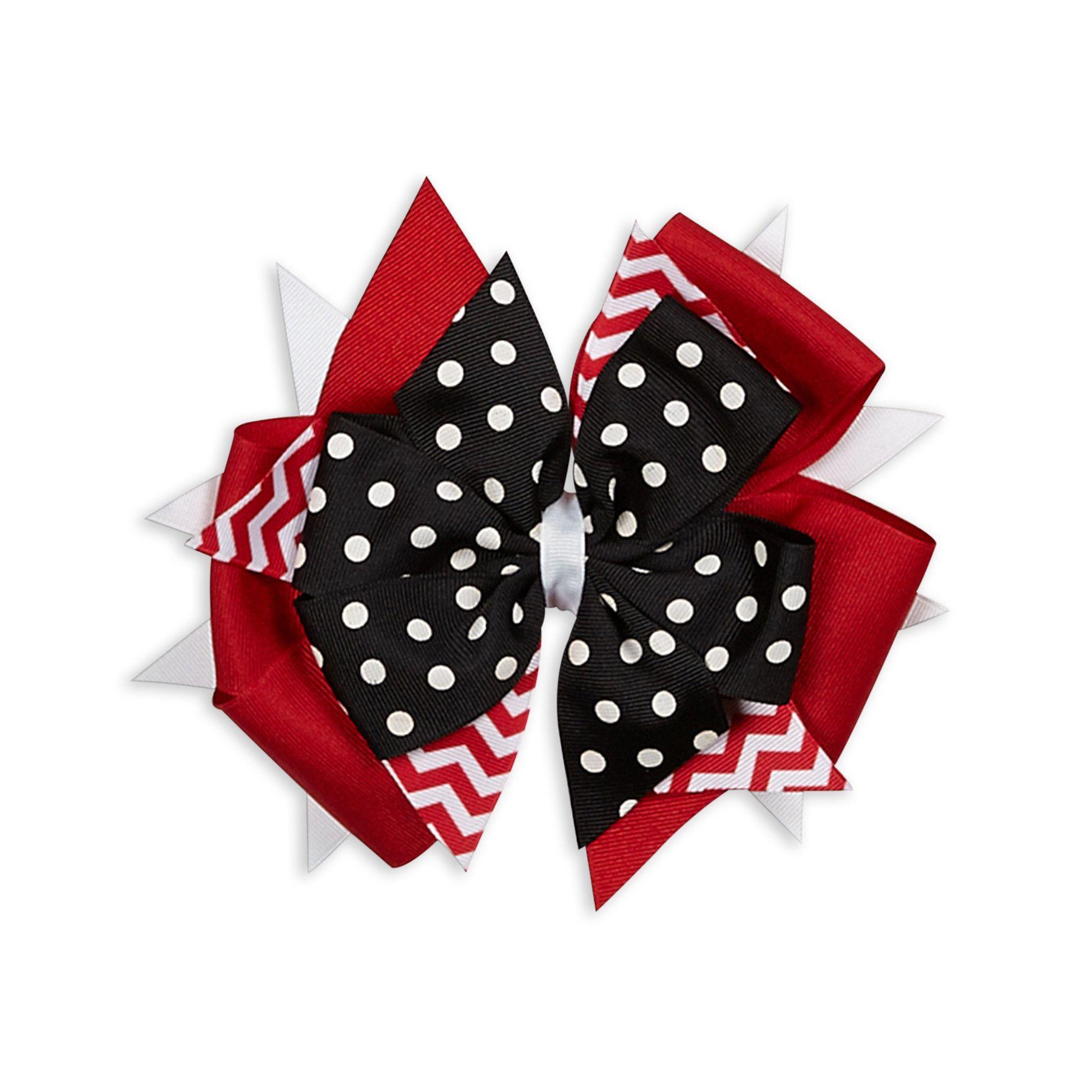 Black /& White Chevron /& Dots Boutique Hair Bow