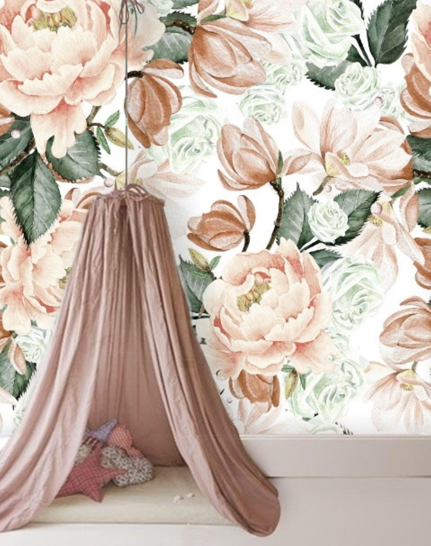 Floral Nursery Girl Wallpaper, Watercolour Peony Peel and