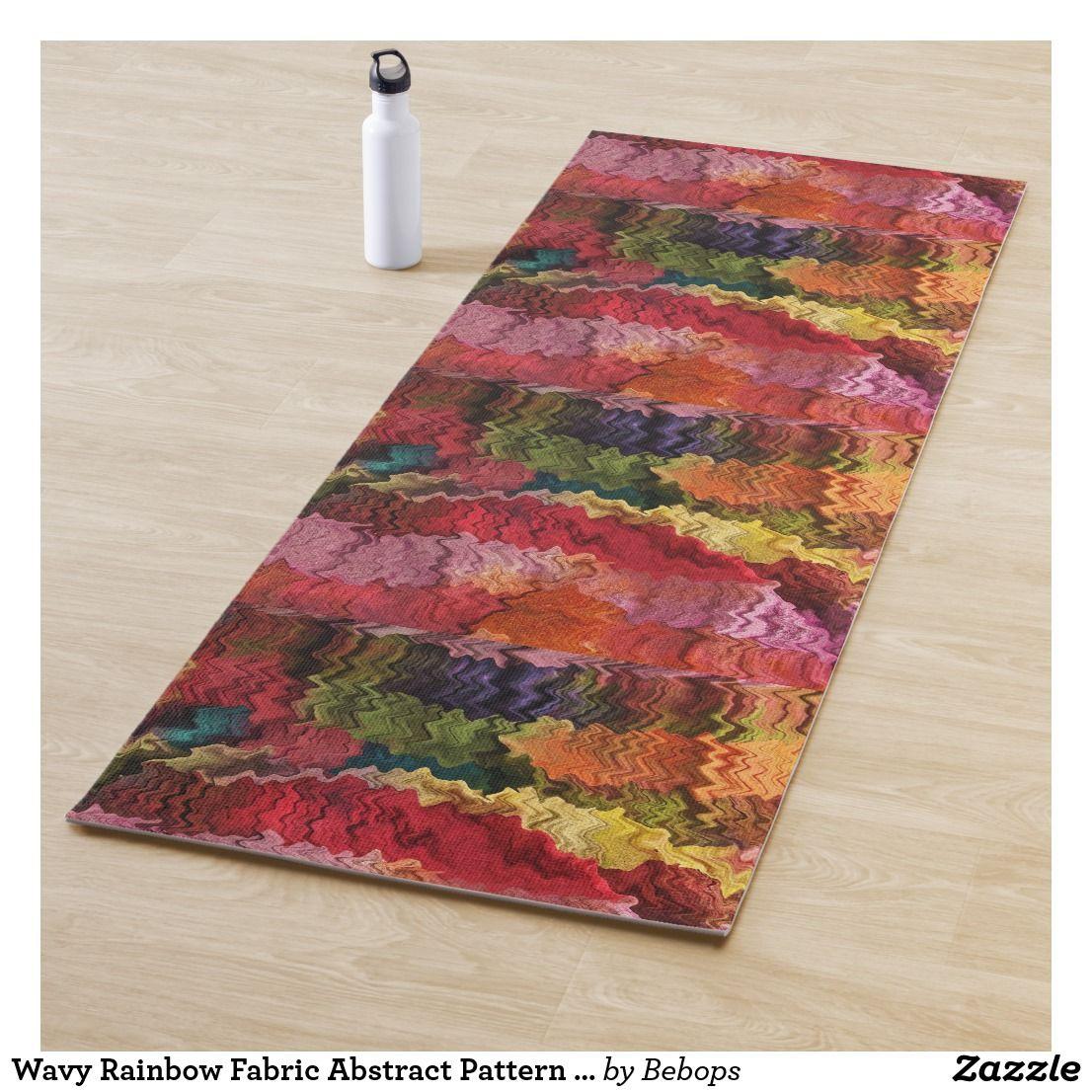 Wavy Rainbow Fabric Abstract Pattern Yoga Mat Zazzle Com